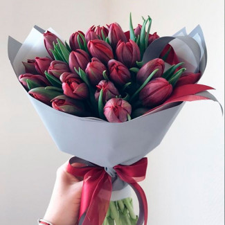 35 Deep Red Tulips