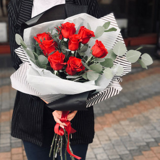 9 Red Roses with Eucalyptus